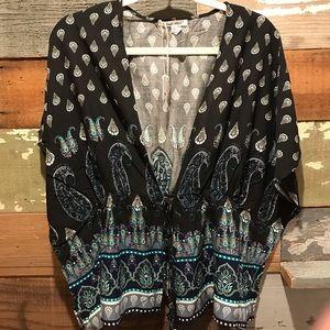 Cotton drawstring kimona top